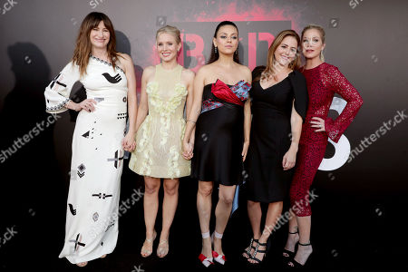 "Kathryn Hahn, Kristen Bell, Mila Kunis, Annie Mumolo and Christina Applegate seen at Los Angeles Premiere of STX Entertainment ""Bad Moms"" at Mann Village Theatre, in Los Angeles"