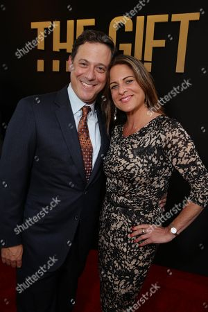 "Adam Fogelson, Chairman, Motion Picture Group at STX Entertainment and Cathy Schulman, President of Production - STX Entertainment seen at the Los Angeles Premiere of STX Entertainment ""The Gift"" held at Regal Cinemas LA Live, in Los Angeles"