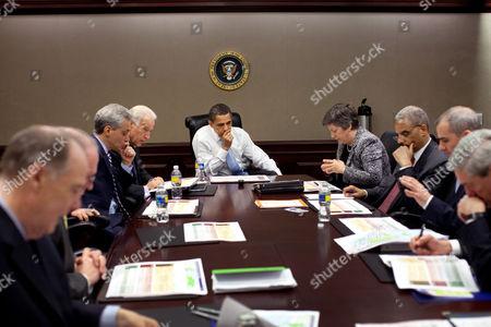 Designated Chief of Staff Rahm Emanuel, Vice President Joe Biden, US President Barack Obama, Secretary of Homeland Security Janet Napolitano and Attorney-General Eric Holder