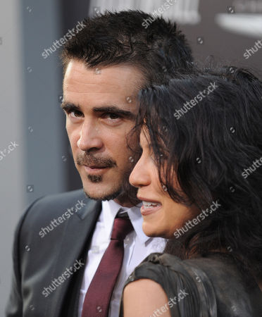 """Colin Farrell, on the left, and Claudine Farrell arrive at the """"Total Recall"""" premiere on in Los Angeles, Calif"""