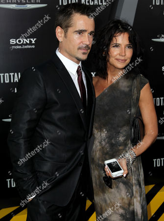 """Cast member Colin Farrell, left, and Claudine Farrell arrive at the premiere of """"Total Recall"""", in Los Angeles"""