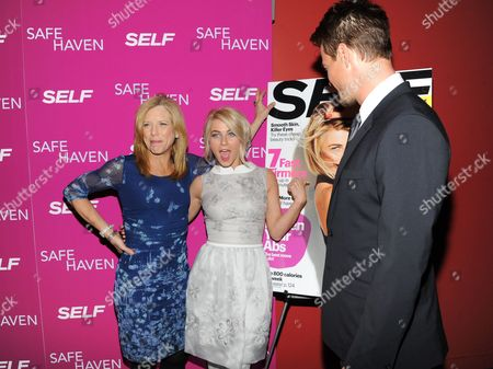 """Self editor-in-chief Lucy Danziger, left, poses with actors Julianne Hough and Josh Duhamel at the premiere of """"Safe Haven"""" at the Sunshine Landmark on in New York"""