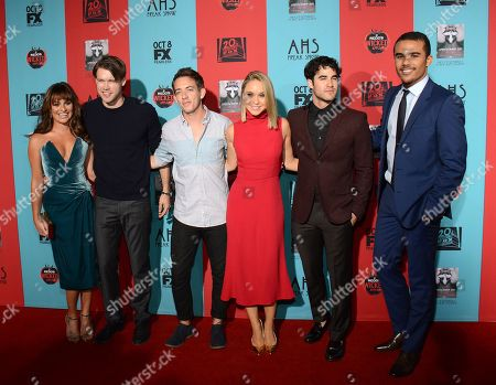 "Lea Michelle, Chord Overstreet, Kevin McHale, Becca Tobin, Darren Criss and Jacob Artist seen at Premiere Screening Of ""American Horror Story: Freak Show"" - Arrivals at TCL Chinese Theatre, in Los Angeles, Calif"