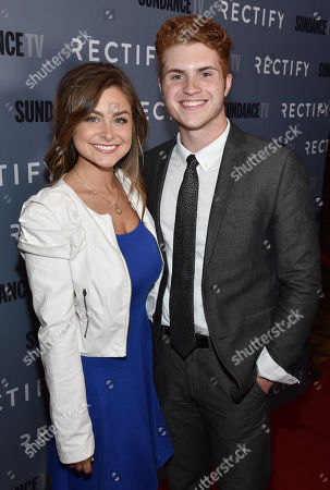 "Gianna DiLoren, left, and Jake Austin Walker attend the premiere of SundanceTV's ""Rectify"" season 2, in Los Angeles"