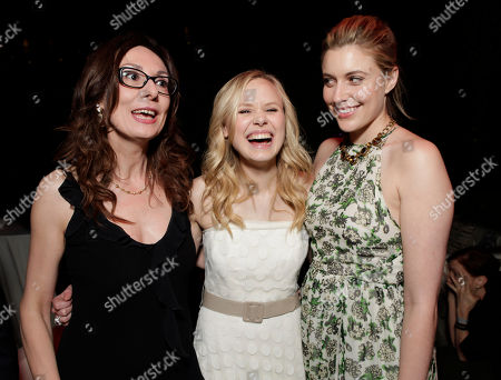 "L-R) Actress Simona Caparrini, Alison Pill, and Greta Gerwig attend the premiere of ""To Rome With Love"" at Regal Cinemas L.A. LIVE on in Los Angeles"