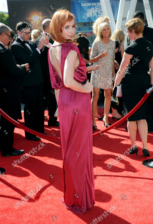 Mary Kate Wiles arrives at the Primetime Creative Arts Emmy Awards at the Nokia Theatre L.A. Live, in Los Angeles