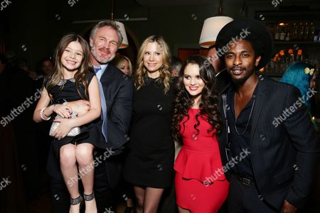 """Makenzie Moss, Brian Bosworth, Mira Sorvino, Madison Pettis and Shwayze seen at Pure Flix Entertainment premiere of """"Do You Believe?"""" at Arclight Hollywood, in Los Angeles, CA"""
