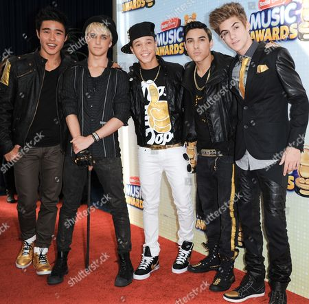 Stock Image of From left, Will Jay, Dalton Rapattoni, Dana Vaughns, Gabriel Morales, and Cole Pendery arrive at the Radio Disney Music Awards at the Nokia Theatre on in Los Angeles