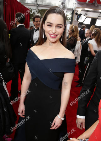Emilia Clark seen at the Red Carpet Arrivals For The 21st Annual SAG Awards held at the Shrine Auditorium, in Los Angeles
