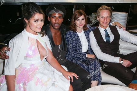 """Kether Donohue, from left, Brandon Mychal Smith, Aya Cash and Chris Geere attend the after party for the Red Carpet Premiere Event of """"The League"""" and """"You're the Worst"""" at the W Hotel, in Los Angeles"""