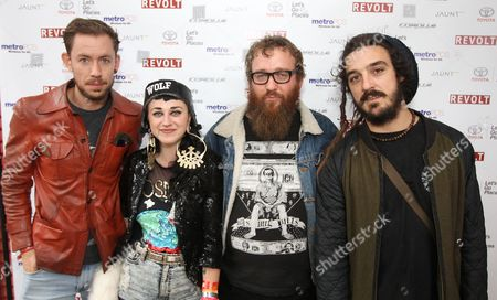 """Hiatus Kaiyote from left, Simon Mavin, Nai Palm, Paul Bender and Perrin Moss are seen at the """"REVOLT Block Party presented by Toyota #MakeYourMark"""" during SXSW Music on in Austin, Texas"""