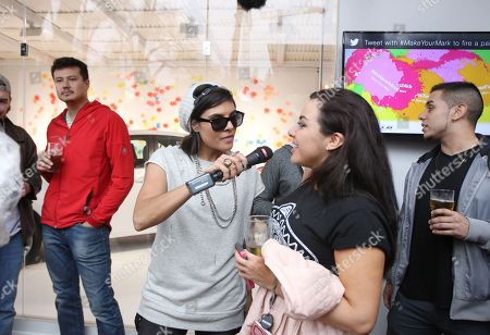 """Stock Picture of REVOLT host DJ Hannah Rad is seen interviewing a guest at the """"REVOLT Block Party presented by Toyota #MakeYourMark"""" during SXSW Music on in Austin, Texas"""