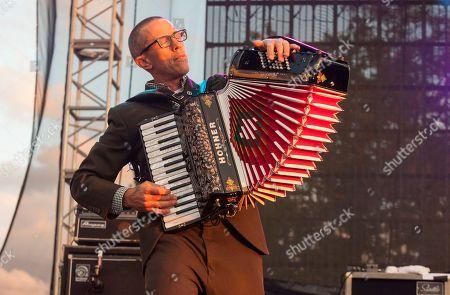 Matt Hensley of Flogging Molly seen at Riot Fest & Carnival in Douglas Park on in Chicago