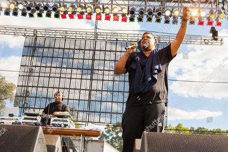 "Vincent Mason ""Maseo"" and David Jude Jolicoeur Dave of De La Soul seen at Riot Fest & Carnival in Douglas Park on in Chicago"