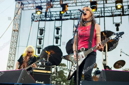 Suzi Gardner and Donita Sparks of L7 seen at Riot Fest & Carnival in Douglas Park on in Chicago