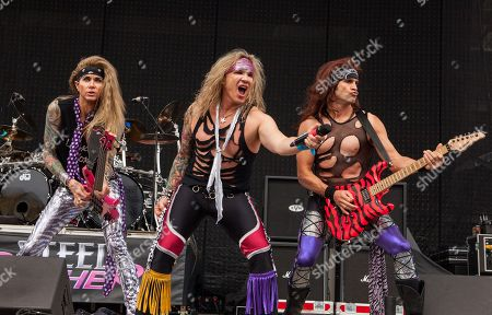 Lexxi Foxxx, Michael Starr and Satchel of Steel Panther perform at Rock on the Range on in Columbus, Ohio