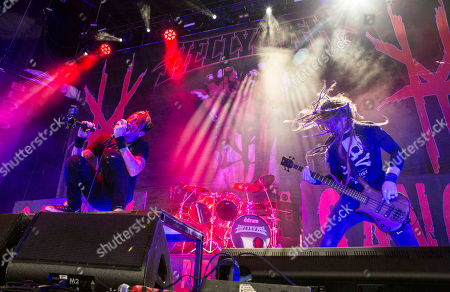 Chad Gray, Tom Maxwell, Vinnie Paul, Kyle Sanders and Christian Brady with Hellyeah performs during Rockstar Energy Drink Mayhem Festival 2015 at Aaron's Amphitheatre, in Atlanta