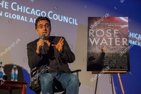 Iranian Canadian journalist and filmmaker, Maziar Bahari during the Q&A for the film Rosewater - based on his book, Then They Came for Me, about his true life story, on in Chicago