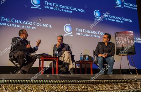 Journalist and host Clarence Page, director and writer of Rosewater, Jon Stewart and Iranian Canadian journalist and filmmaker, Maziar Bahari, during the Q&A for the film Rosewater - based on the true story of journalist Maziar Bahari, on in Chicago