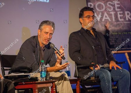 Director and writer of Rosewater, Jon Stewart and Iranian Canadian journalist and filmmaker, Maziar Bahari, during the Q&A for the film Rosewater - based on the true story of journalist Maziar Bahari, on in Chicago