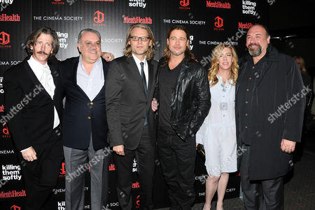 """Stock Photo of Actor Ben Mendelsohn, left, actor Vincent Curatola, director Andrew Dominik, actor Brad Pitt, producer Dede Gardner and actor James Gandolfini attend a special screening of """"Killing Them Softly"""" hosted by The Cinema Society, Men's Health and DeLeon at the SVA Theater on in New York"""