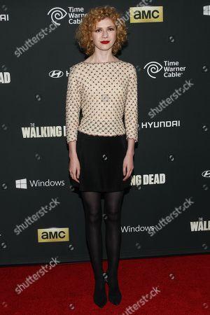 "Actress Kasha Kropinski arrives at the season 4 premiere of ""The Walking Dead"" at the AMC Universal Citywalk Stadium 19/IMAX on in Universal City, Calif"