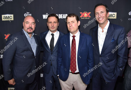 """Joel Stillerman, and from left, Andrew Lincoln, executive producer Scott M. Gimple and Charlie Collier, president/general manager of AMC, attend the season five premiere of """"The Walking Dead"""" at AMC Universal Citywalk, in Universal City, Calif"""