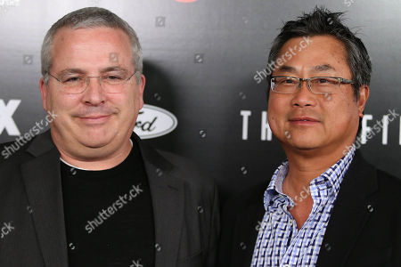 Glen Morgan and James Wong arrive at the season premiere of 'The X-Files' at the California Science Center, in Los Angeles, Calif