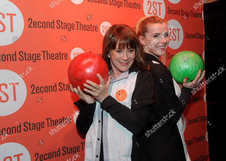 Patricia Richardson, left, and Betty Gilpin attend Second Stage Theatre's 27th All-Star Bowling Classic fundraiser at Lucky Strike on West 42nd Street in New York
