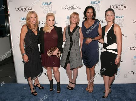 Stock Picture of From left, Lucy Danziger, Meghan McCain, Laura McEwen, Padma Lakshmi and Katie Lowes attend SELF Magazine's Women Doing Good Awards on in New York