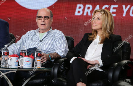 Clyde Phillips and Edie Falco seen at Showtime's 2015 Winter TCA held at the The Langham Huntington, Pasadena, in Pasadena, Calif