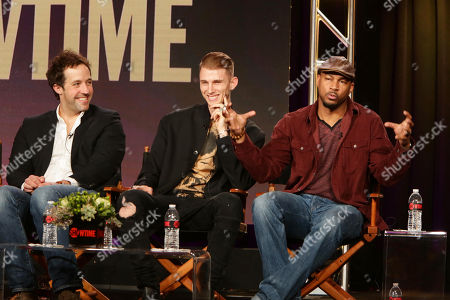 Peter Cambor, Machine Gun Kelly and Finesse Mitchell seen at Showtime 2016 Winter TCA at the Langham Huntington Hotel, in Pasadena, CA