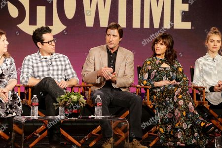 Executive Producer of 'Roadies' Winnie Holzman, executive producer J.J. Abrams, Luke Wilson, Carla Gugino and Imogen Poots seen at Showtime 2016 Winter TCA at the Langham Huntington Hotel, in Pasadena, CA
