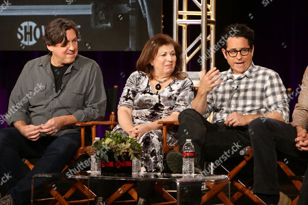 Executive Producers of 'Roadies' Cameron Crowe, Winnie Holzman and J.J. Abrams seen at Showtime 2016 Winter TCA at the Langham Huntington Hotel, in Pasadena, CA