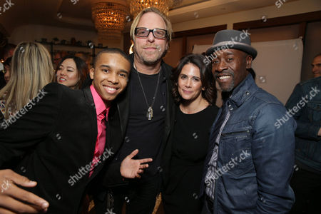 "Donis Leonard Jr., Matthew Carnahan, Executive Producer of House of Lies, Jessika Borsiczky, Executive Producer of House of Lies, and Don Cheadle seen at the premiere event for Showtime's Original Comedy Series ""Shameless, House of Lies and Episodes"" at Cecconi's, in West Hollywood"