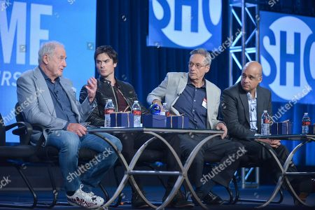 """From left, Executive Producer Jerry Weintraub, Correspondent Ian Somerhalder, Executive Producer David Gelber and Executive Producer/Climate Expert Daniel Abbasi participate in the """"Years of Living Dangerously"""" panel discussion at the Showtime Winter 2014 TCA Press Tour on in Pasadena, Calif"""