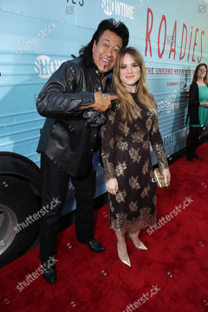 "Branscombe Richmond and Jacqueline Byers are seen at Showtime's ""Roadies"" Premiere at ACE Hotel, in Los Angeles"