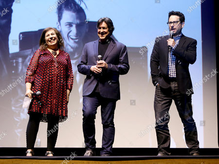 "Stock Image of Exec. Producers Winnie Holzman, Cameron Crowe, and J.J. Abrams are seen at Showtime's ""Roadies"" Premiere at The Theatre at ACE Hotel, in Los Angeles"