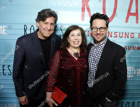 "Exec. Producers Cameron Crowe, Winnie Holzman, and J.J. Abrams are seen at Showtime's ""Roadies"" Premiere at ACE Hotel, in Los Angeles"