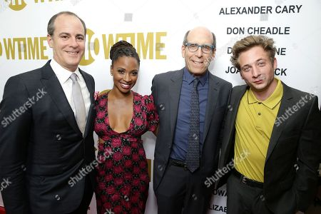 David Nevins, President, Showtime Networks, Shanola Hampton, Matthew C. Blank, Chairman and CEO, Showtime Networks, and Jeremy Allen White at Showtime's Emmy Eve 2015 at Sunset Tower Hotel, in Los Angeles, CA