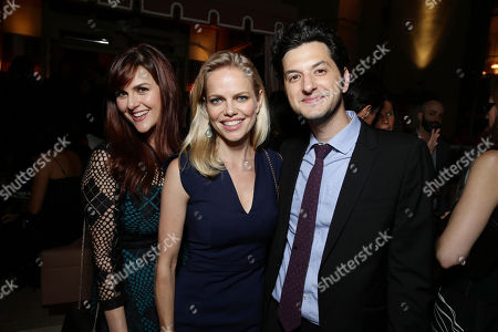 Sara Rue, Mircea Monroe and Ben Schwartz seen at Showtime's Emmy Eve 2015 at Sunset Tower Hotel, in Los Angeles, CA
