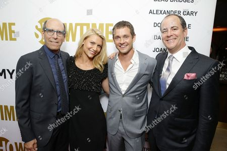 Matthew C. Blank, Chairman and CEO, Showtime Networks, Claire Danes, Hugh Dancy and David Nevins, President, Showtime Networks at Showtime's Emmy Eve 2015 at Sunset Tower Hotel, in Los Angeles, CA