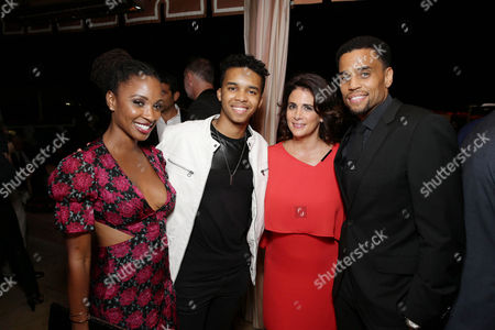 Shanola Hampton, Donis Leonard Jr., Jessika Borsiczky and Michael Ealy seen at Showtime's Emmy Eve 2015 at Sunset Tower Hotel, in Los Angeles, CA