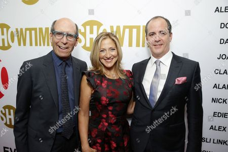 Matthew C. Blank, Chairman and CEO, Showtime Networks, Edie Falco, and David Nevins, President, Showtime Networks at Showtime's Emmy Eve 2015 at Sunset Tower Hotel, in Los Angeles, CA
