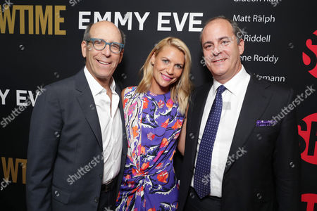 Matthew C. Blank, Chairman or Showtime, Claire Danes and David Nevins, President and CEO of Showtime, seen at Showtime's Emmy Eve at the Sunset Tower, in Los Angeles