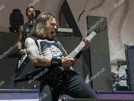 Michael Paget with Bullet for My Valentine performs during the SLIPKNOT: Summer's Last Stand Tour at Aaron's Amphitheatre, in Atlanta