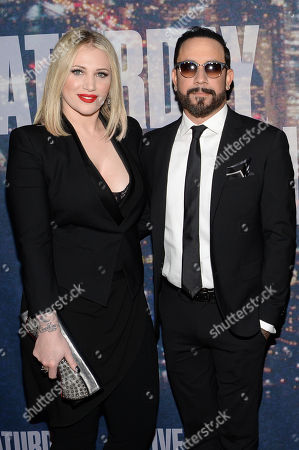A.J. Mclean and wife Rochelle Deanna Karidis attend the SNL 40th Anniversary Special at Rockefeller Plaza, in New York