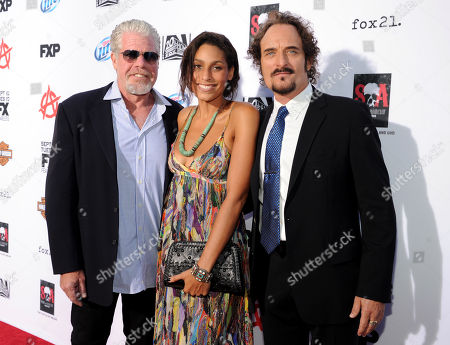 "From left, Ron Perlman, Blake Perlman and Kim Coates arrive at FX's ""Sons of Anarchy"" Season 6 Premiere Screening and Party, on in Hollywood, Calif"