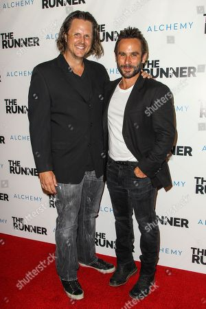 """Andy Grush, left, and Austin Stark attend a special screening of """"The Runner"""" at the TCL Chinese 6 Theatre on in Los Angeles"""