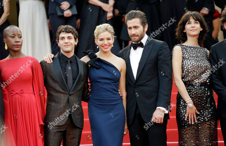 From left, Rokia Traore, Xavier Doran, Sienna Miller, Jake Gylenhaal and Sophie Marceau arrive for the opening ceremony and the screening of the film La Tete Haute (Standing Tall) at the 68th international film festival, Cannes, southern France